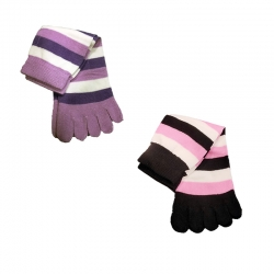Striped Design Finger Socks for Girls 16 to 20 Years 2 pairs