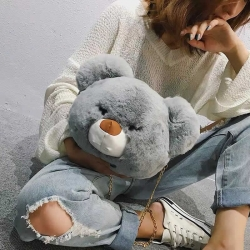 Cute Teddy Bear Soft Fluffy Sling Bag for Girls
