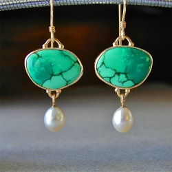 Green Stone Simulated-Pearl Elegant Drop Earring