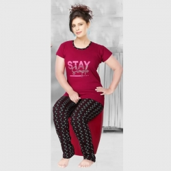 Cotton Half Sleeves Printed Night Suit for Women