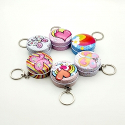 Round Shape Metal Mini Tin Keychain Gift Box Pack Of 5