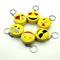 Smiley Emoji Round Metal Tin Keychain Mini Box Pack of 5