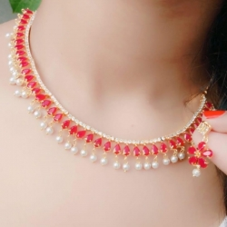 Fashion Pink Stone Golden Chain Pearl Necklace & Earrings Set