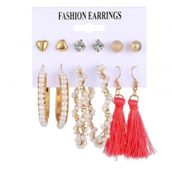 Fashion jewellery Crystal Round Shape Pearl Earrings 6 pcs Set