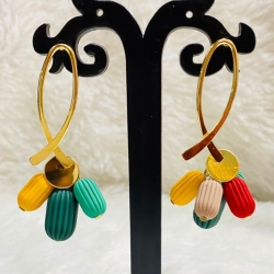 Women Multicoloured Beads Gold Plated Fashion Drop Earring