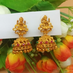 Gold Finish Goddess Laxmi Inspired Designer Jhumka Earrings