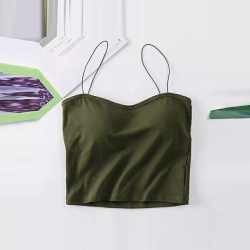 Solid Camisoles Tank Crop Padded Top