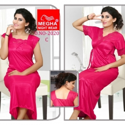 Soft Silky Satin Nighty With Robe 2 Pcs Set