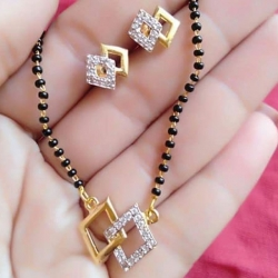 Square Design Golden Plated Mangalsutra With Earrings Set