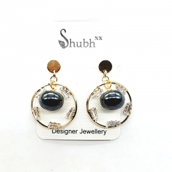 Round Circle Pearl Drop Earring