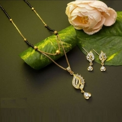 Beautiful Crystal Rhinestone Mangalsutra & Earrings Set