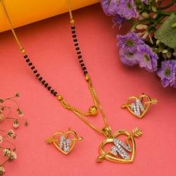 Beautiful CZ Heart Shape Golden Plated Mangalsutra & Earrings Set