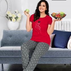 Printed Top and Pajama Women's Night Suit