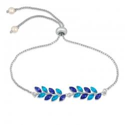 Rhodium Plated Elegant Leafy Designer Crystal Adjustable Bracelet
