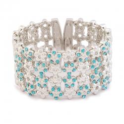 Crystal Blue Floral Rhodium Plated Kada Cuff Bracelet