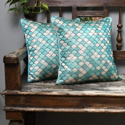 Cotton Embroidered Blue Cushion Covers 16 x 16 inch  Pack of 2