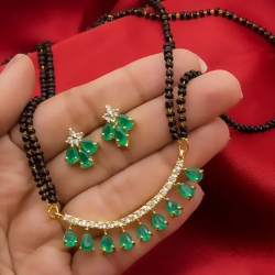 American Diamond Green & White Stone Studded Mangalsutra Earrings Set