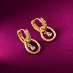 Golden Plated American Diamond Half Hoop Stud Earrings