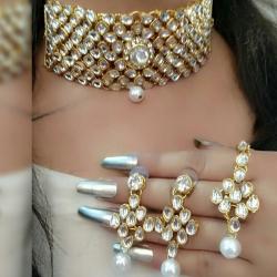 Kundan With Stone Pearls Choker Necklace Set