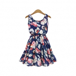 Chiffon Sleeveless Round Neck Floras Print Dress