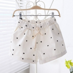 Kitten Pattern Printed Hot Pants Free Size