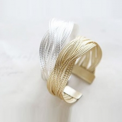 Alloy Knitted Twisted Metal Rattan Wide Bracelet