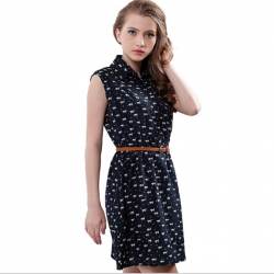 Cat Footprints Pattern Show Thin Casual Shirt Dress With Belt