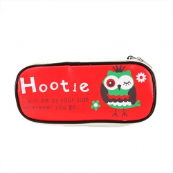 Owl Print PU Leather Zipper Cosmetic Organizer Case