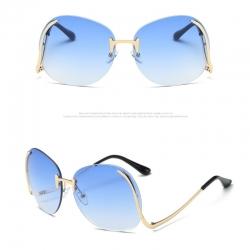 Metal Curved Legs Oversized Sunglasses