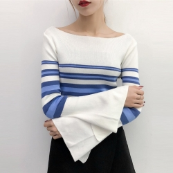 Littledesire Flare Sleeve Striped Pullovers Winter Sweater