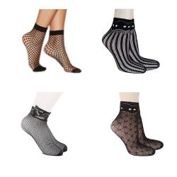 Littledesire Fishnet Short Socks - 4 Pairs