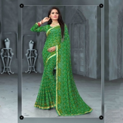 Littledesire Bandhani Printed Saree with Blouse Piece