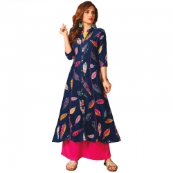 Littledesire Stylish A-Line Leaf Printed Long Kurta