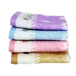 4 pcs Soft Cotton Face Flower Towel Handkerchief