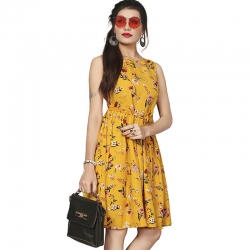 Littledesire Boat Neck Floral Print Crepe Dress