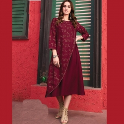 Littledesire Double Layer Round Neck Printed Maroon Kurta
