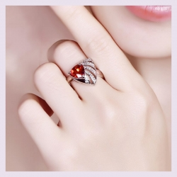 Littledesire Triangle Design Red CZ Silver 925 Ring