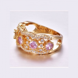 Round Shape Pink & White CZ Gold Plated 925 Ring