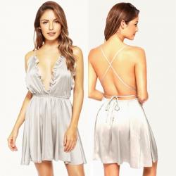 Littledesire Deep V-Neck Ruffles Sleepwear Silk Dress
