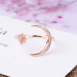 Littledesire Moon & Star Crystal Ring