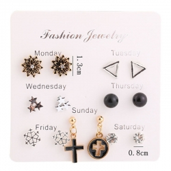 Fashion Flowers Crystal Stars Cross Earrings 7 pcs Set