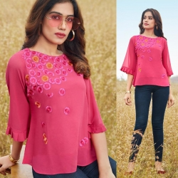 Floral Embroidered Work Pink Short Kurti Top