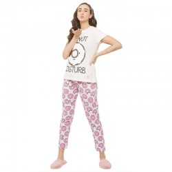 Donuts Printed Top & Pajama Cotton Night Suit