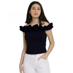 Stylish Design Off Shoulder Navy Blue Bardot Top