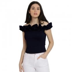 Stylish Design Off Shoulder Navy Blue Bardot Top