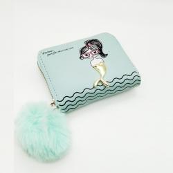 Cute Girl Print Mini Purse PU Leather Zipper Wallet