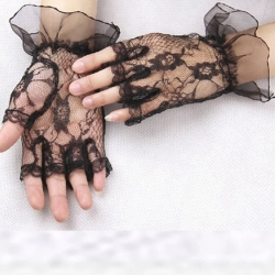 Black Lace Short Fancy Partywear Net Gloves