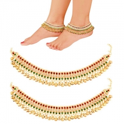 Golden Plated Color-full Stone Payal