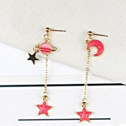 Moon Star Dangle Drop Earrings