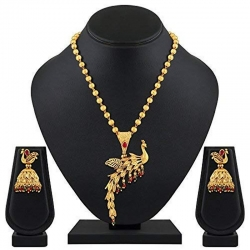 Stylish Peacock Gold Plated Matinee Style Stone Brass Necklace Mala Set